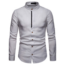 Мужская рубашка размера плюс S-2XL на весну и лето, однотонная, с длинным рукавом, на пуговицах, уличная, мужская рубашка, Camiseta Masculina