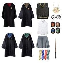 Potter óculos robe capa capa com gravata camisa cachecol varinha traje suéter potter cosplay acessórios roupas dia das bruxas