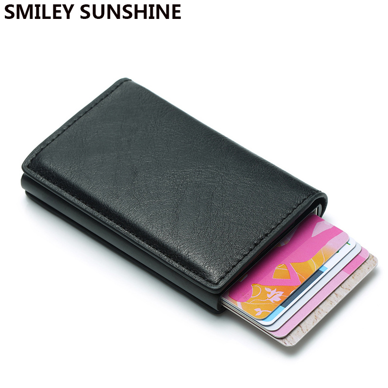 Trifold Rfid Card Holder Men Wallets Money Bag Male Vintage Black Short Purse 2020 Small Leather Smart Slim Mini Wallets Thin