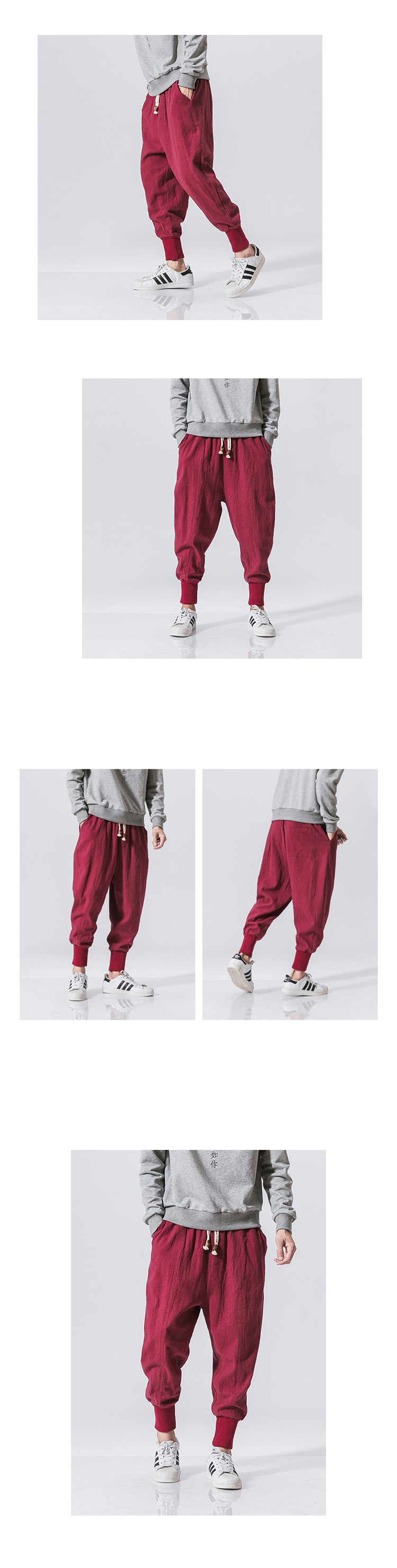 Sincism Store Men Harem Pants Japanese Casual Cotton Linen Trouser Man Jogger Pants Chinese Baggy Pants