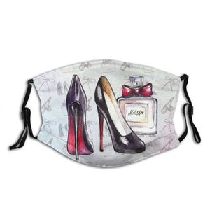 Sexy Shoes Print Washable Filter Anti Dust Mouth Mask Sexy Shoes High Heels Sexy Womens Night Out Painted Chalk Pattern Girly
