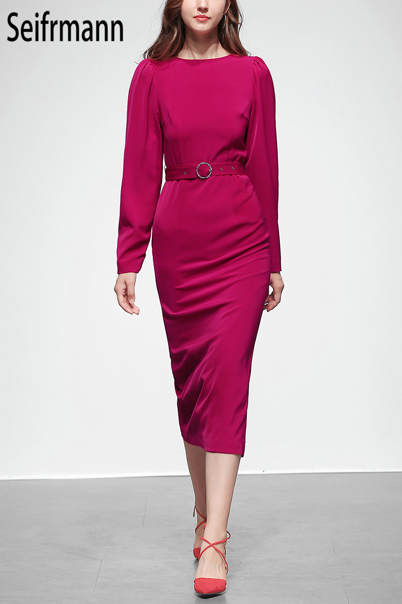 Seifrm 2019 Autumn New Soft Pink sexy dress Fashion Sashes Elegant Party dress Office Slim fit Knee Length dress Streetwear - 2