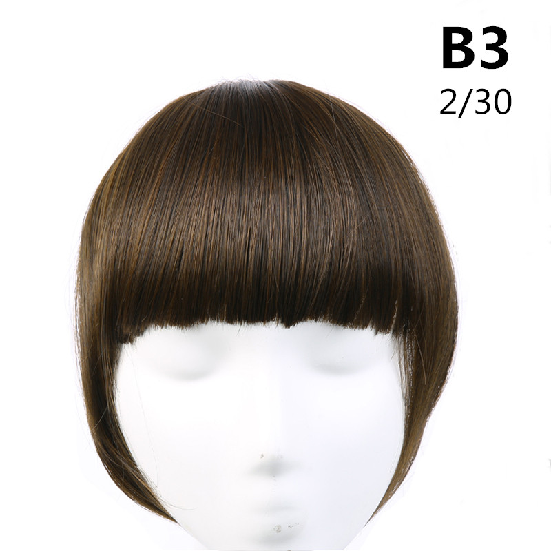 SARLA волосы челка клип в подметание боковая бахрома поддельные накладные взрыва натуральные синтетические волосы кусок волос черный коричневый B2 - Цвет: 2-30