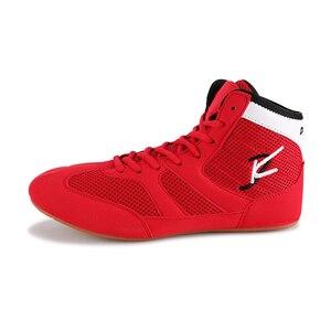 Zapatos de lucha profesional para hombres, zapatos de lucha rojos de alta calidad, zapatos ligeros para hombres, zapatos de boxeo transpirables