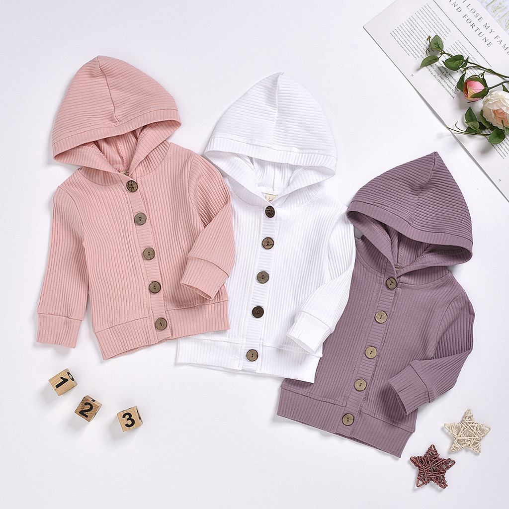 US Toddlers Infant Baby Boy Girl Winter Warm Hoodie Coat Button Jacket Outerwear