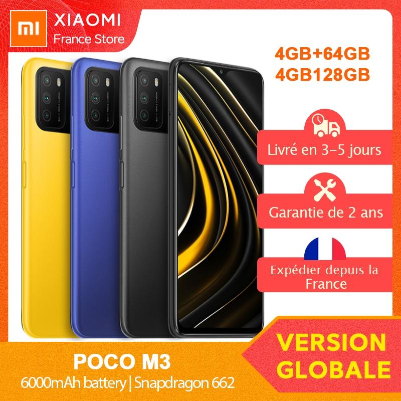 Xiaomi – Smartphone POCO M3, Version globale, 4 go 64 go/128 go, Snapdragon 662, écran 6.53 pouces, Triple caméra 48mp, reconnaissance faciale AI, 6000mAh