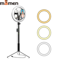 MAMEN LED Studio Selfie Ring Light Stick Video Photo For Youtube Live Streaming Dimmable Photography Lighting With Mirror Tripod