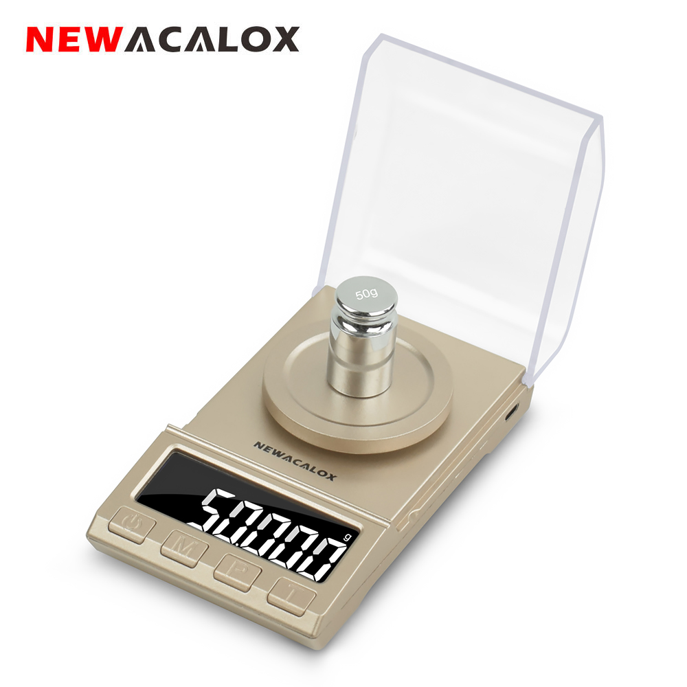 NEWACALOX 0.001g Precision Digital Jewelry Scale 50g/100g USB Powered Electronic Weighing Scales LCD Mini Lab Balance 0.001g