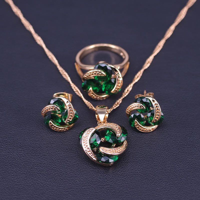 Promotion Lucky Circle Green Crystal Gold Color Bridal Jewelry Set for Women Earrings Necklace Pendant Ring