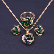 Bridal-Jewelry-Set Earrings Necklace Crystal Lucky-Circle Green Women Gold-Color