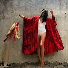 Wrap-Dress BELTED Kimono Summer Striped Long Outwear Bikini Cover-Ups A859 Sexy Red Plus-Size