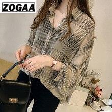 Autumn Long Sleeve office Shirt Women Plus Size 4XL Blouse Fashion Blouses 2019 Striped Plaid OL ZOGAA