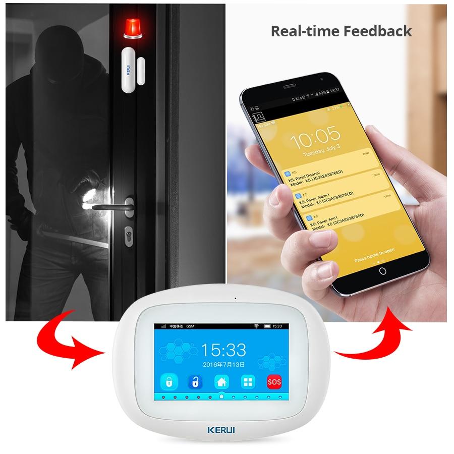 Kerui k52 wi fi gsm sistemas de alarme 4.3 Polegada display a cores toque completo segurança em casa alarme do assaltante com sensor sem fio sirene câmera