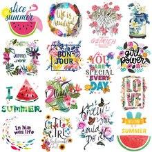 Prajna Brief Blume Patches Eisen Auf Transfer Patches Für Kleidung DIY Vinyl Wärme Transfer Flamingo Aufkleber Auf Kleidung Applique