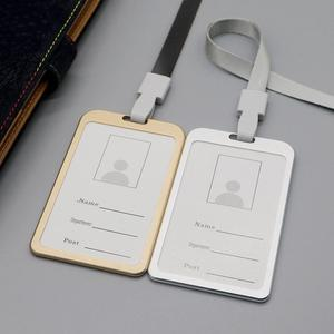 1pcs Metal ID Badge Card Holder Business Security Pass Tag Holder with Lanyard Office Company Supplies Work Bus Card Holder
