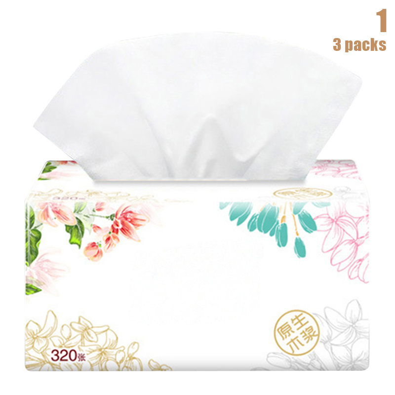 2019 3 Packs Soft Pure Facial Tissues Paper Napkins Household Office Paper Towels New
