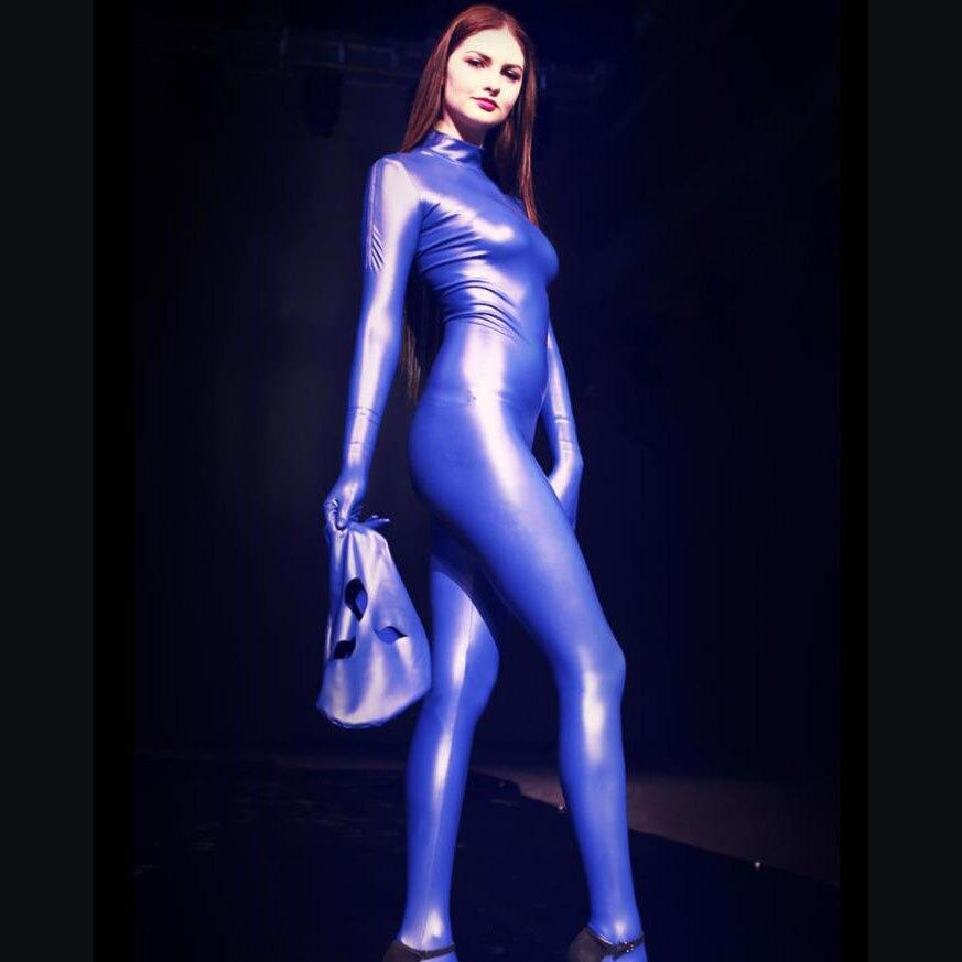 Latex brillant entrejambe ouverte Body Sexy combinaison femmes complet du corps Mujer salopette Latex Sexy une pièce avec des gants grande taille