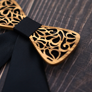 Girl's Carved Wooden Bow Tie 2