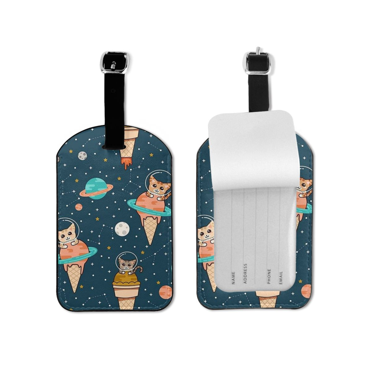 NOISYDESIGNS Kawaii Space Cats Luggage&bags Accessories Leather ID Addres Holder Luggage Label Straps Suitcase Tag Drop Shipping