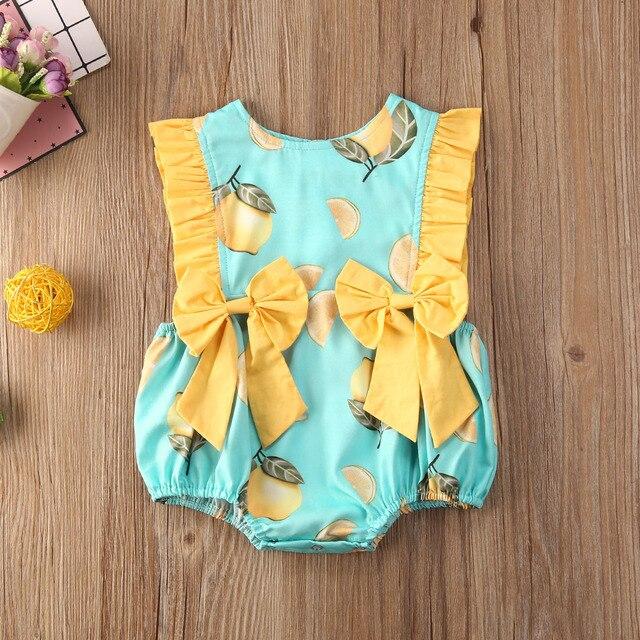 Bébé sans manches combinaison nouveau-né infantile mode été citron imprimé noeud coton barboteuse