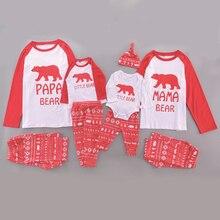 Рождественский комплект для всей семьи; Теплая Повседневная Пижама; одежда для сна с принтом медведя; семейная одежда для мамы, папы и ребенка; подарок на год; одежда для сна