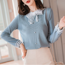 Bow Collar 6-color Sweaters Women invierno 2019 New Autumn Long Sleeve Lace korean cute sweater bottoming knitting Tops 10D6