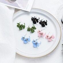 Korean Candy Color Double Flower Drop Earrings for Women Femme Sweet Cute Metal Floral Dangle Earrings Statement Jewelry Gift недорого