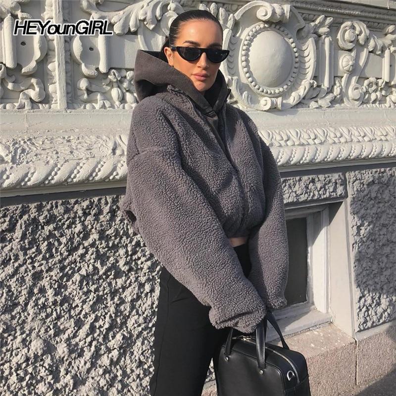 HEYounGIRL Lambswool Casual Fuax Fur Coats Women Warm Autumn Gray Crop Jacket Fashion Long Sleeve Overcoat Female Streetwear