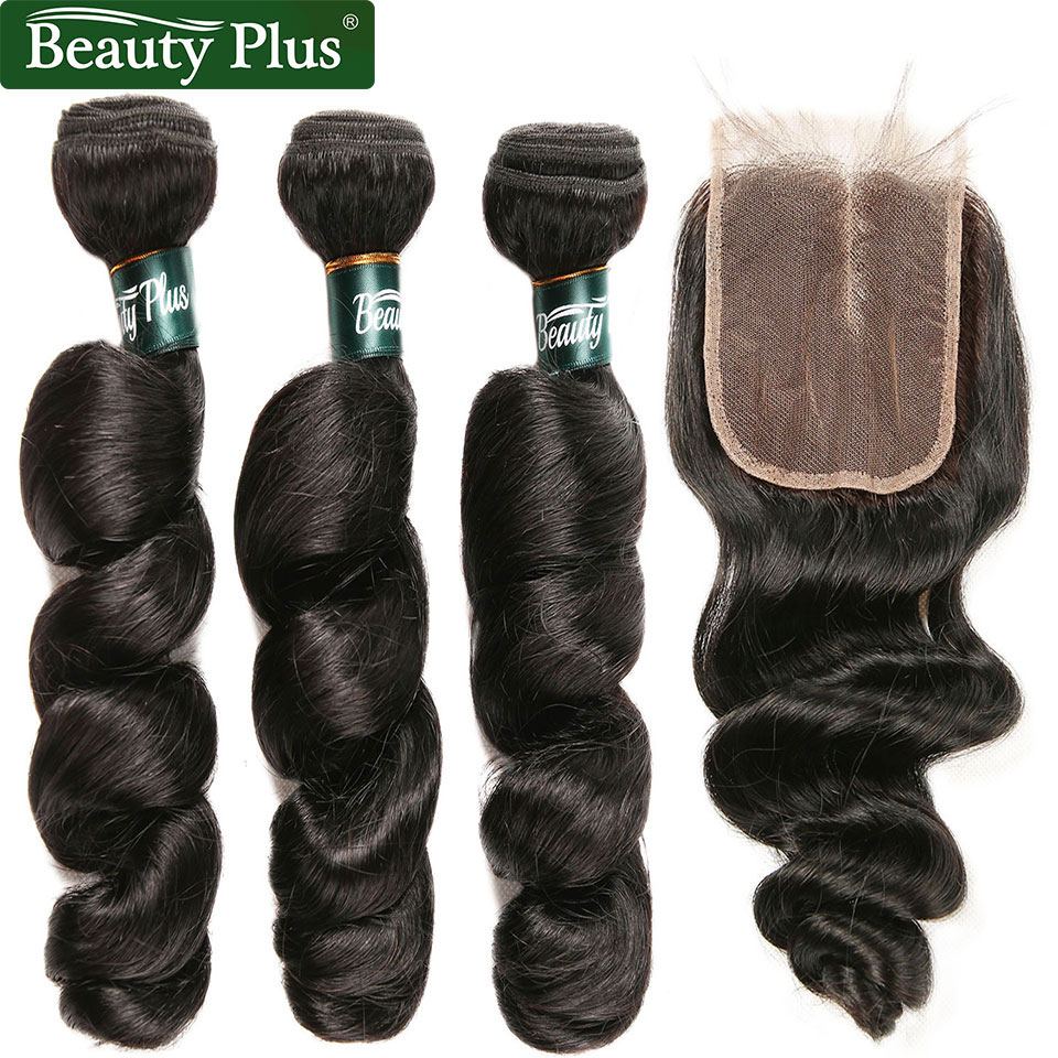 Loose Wave Bundles With Closure Brazilian Hair Weave 3 Bundles With Closure Remy Human Hair Bundles Baby Hair Natural Black BP