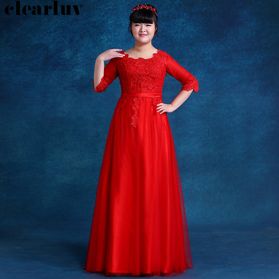 Long Women Party Dresses Red Three Quarter Sleeve Evening Dresses Robe De Soiree DX015 2019 Plus Size Elegant Formal Prom Dress