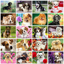 New 5D DIY Diamond Painting Dog Animal Diamond Embroidery Cross Stitch Square/Round Mosaic Kit Handmade Gift Home Decor