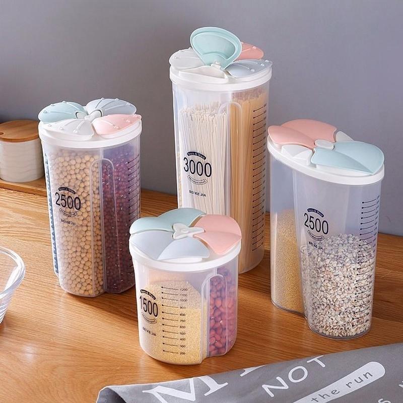 Recipiente para Alimentos Secos Frasco Caja de Almacenamiento de arroz de Grano de harina Buwei Dispensador de Cereales de Cocina de pl/ástico de 4 Rejillas Lata sellada para el hogar