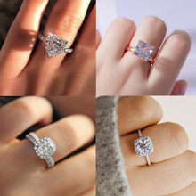 Fashion Luxury Crystal Engagement Women's Ring for Women AAA White Cubic Zirconia Silver color Rings 2021 Wedding Female Jewerly