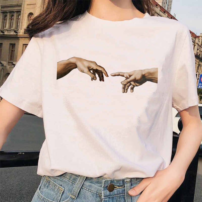Michelangelo T Shirt Hands Women Aesthetic Graphic Tshirt Female  Aestheticgrunge Vintage Ulzzang 90s Femme Harajuku T-shirt
