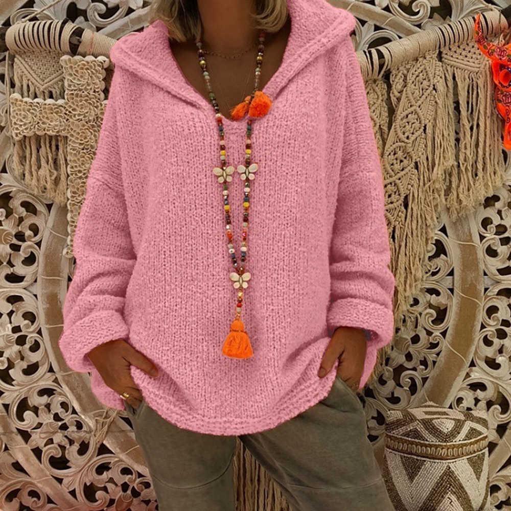 겨울 느슨한 여성 스웨터 니트 탑 여성 풀오버 대형 까마귀 솔리드 여성 스웨터 탑스 2019 가을