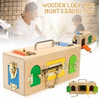 1Pc Wooden Montessori Practical Little Lock Box Baby Early Education Puzzle Unlock Toys Kindergarten Intelligence Teaching Tool