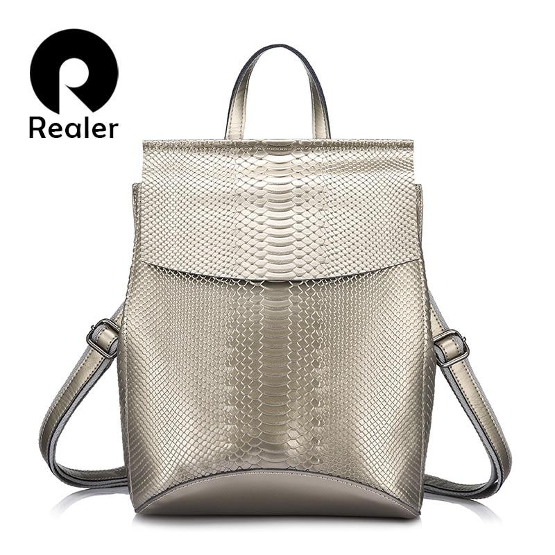 REALER women backpack split leather school bag for girls teenagers multifunctional travel backpack ladies embossing shoulder