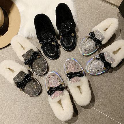 Lamb hair full of snow boots female 2019 winter fur flat bottom plus velvet lazy boots 30