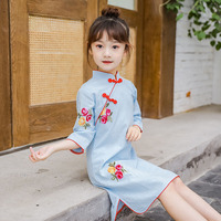 Chinese Cheongsam Princess Dress Baby Summer Girls Dress For kids Clothes long sleeve Cotton Print Flowers Princess Cute Sweet W