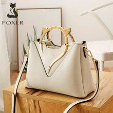 FOXER Women's Handbag Chic Brand Cowhide Shoulder Bags Ladies Stylish Commute Purse Female Luxury Messenger Bags Elegant Totes