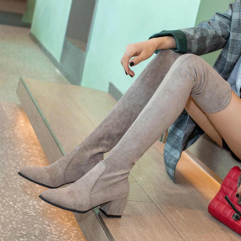 Overknee çizmeler keskin elastik kadın botları