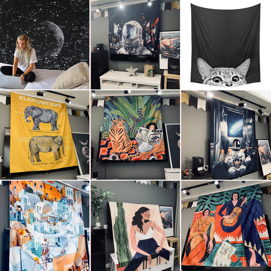 Bedroom Wall Hanging Tapestry Tapestries Decoration Mural Casual Throw Blanket Carpet Cloth Pad Tapestries Home Decor Tapestry