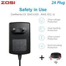 ZOSI EU US UK AU Plug 100 240V to DC 12V 2A Power Adapter Supply Charger BNC Cable For LED Strips Light CCTV System DVR NVR Kit