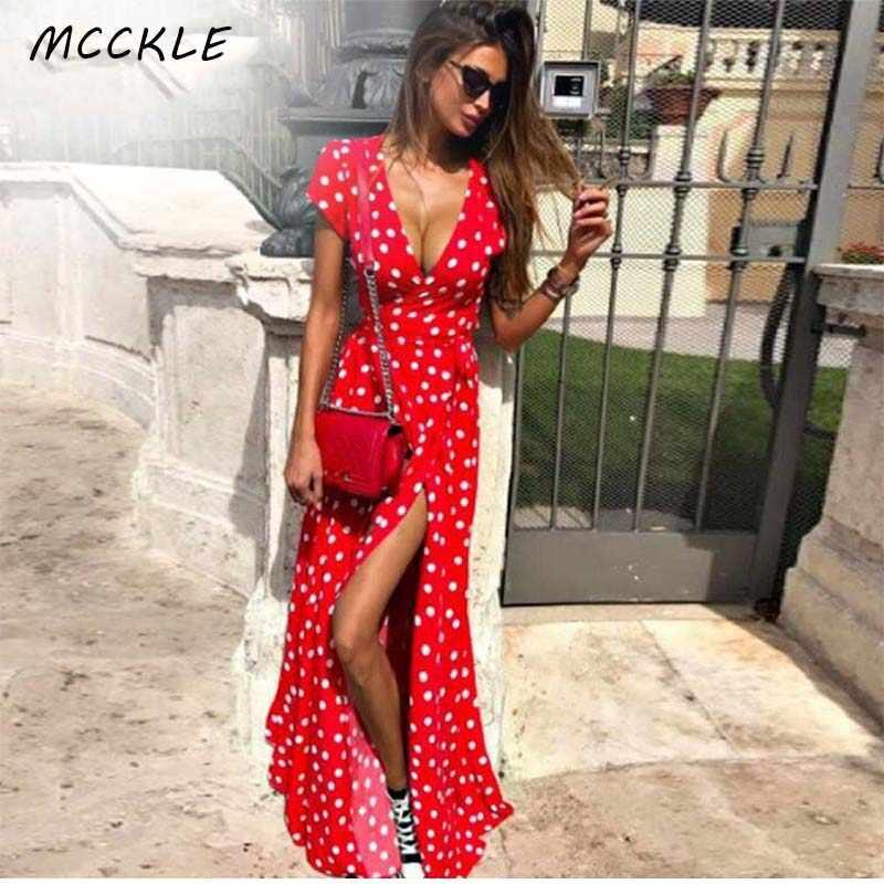 Frauen Boho Polka Dot Lange Maxi Kleider Split Kurzarm Urlaub Kleid 2020 Sommer Streetwear Damen Vestidos Plus Größe 3XL