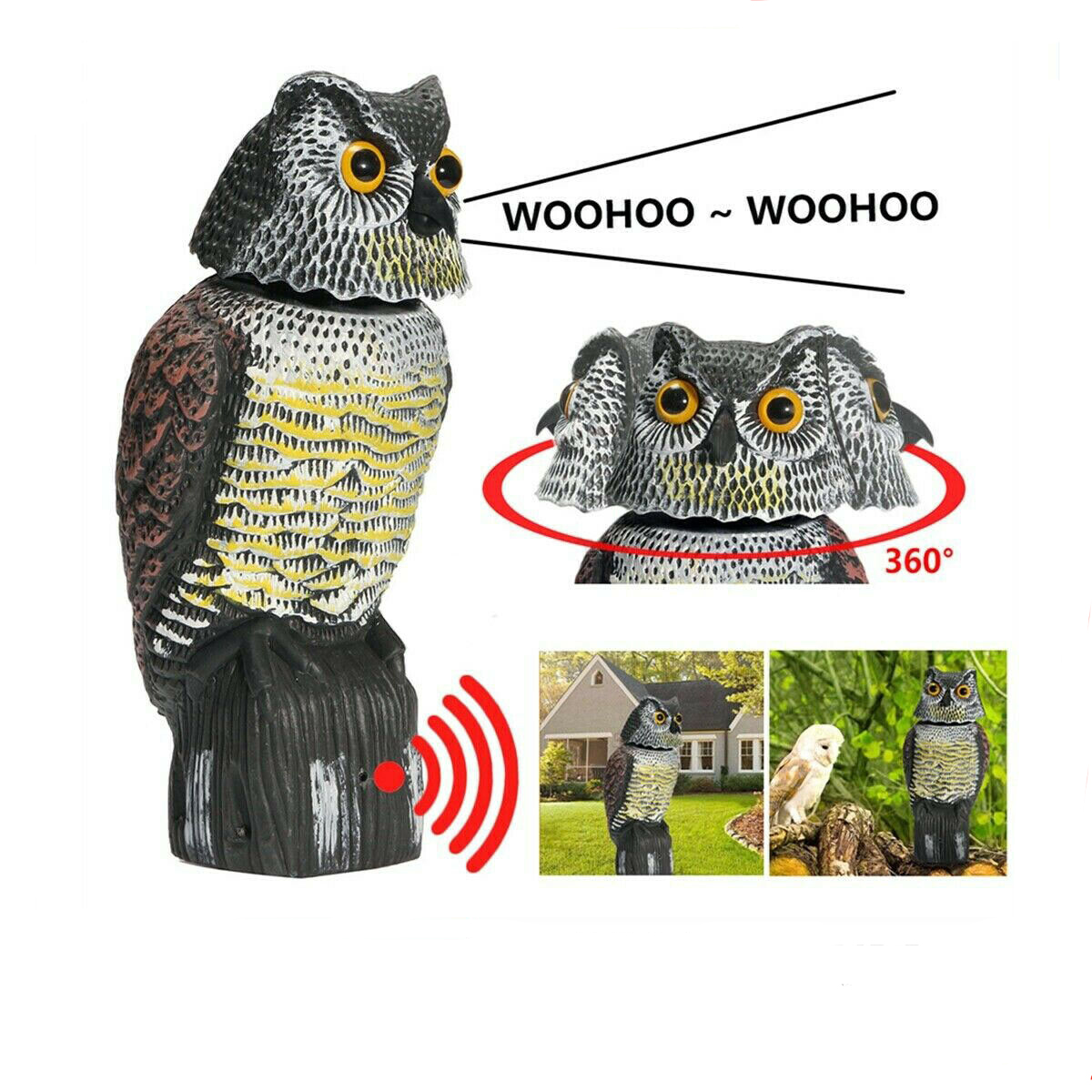 Bird Scarer 360°Rotate Head Sound Owl Decoy Protection Repellent Pest Control Scarecrow Garden Yard Move Decor