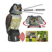 Uccello Scarer 360°rotate Suono Testa Gufo Decoy Protezione Repellente Pest Control Spaventapasseri Giardino Yard Spostare Decor