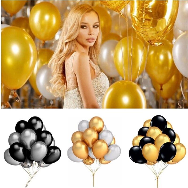 10/20/30 pçs 12 polegada ouro preto brilhante pérola látex balões festa de aniversário decoração casamento colorido hélio ballon chá de bebê