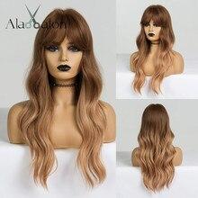 ALAN EATON pelucas onduladas Rubio marrón degradado largo para mujer, pelucas sintéticas con flequillo, fibra resistente al calor para fiesta diaria