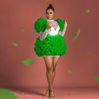 Green Short Homecoming Formal Dresses Vintage Lace Long Sleeve Mini Prom Gown Puffy Organza Vestidos de Gala 2020 Custom Fashion