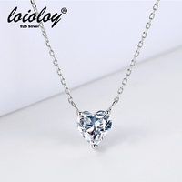 925 sterling silver Single heart cut diamond pendant charm necklace for girl Christmas gift